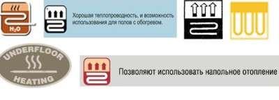 Специальные значки, которые допускают использование ламината с ИК обогревом