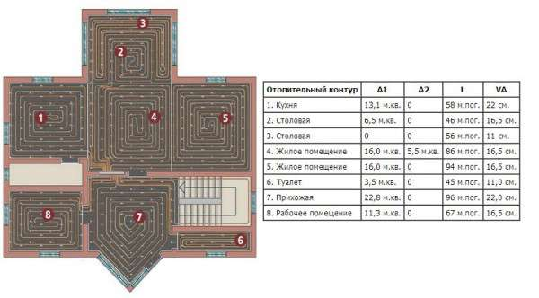 План дома и таблица с расчетами