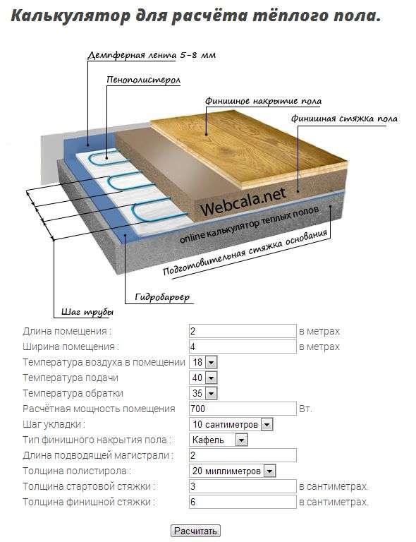 Водяной теплый пол – расчеты с онлайн калькулятором