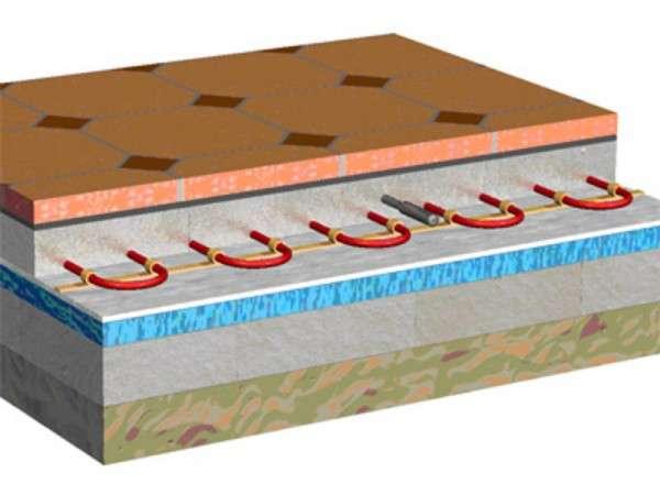Теплый пол под плитку в разрезе
