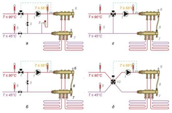 Схемы по сборке насосно-смесительных узлов