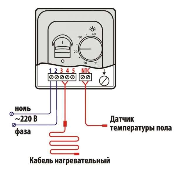 Схема подключения терморегулятора в электрическом теплом поле