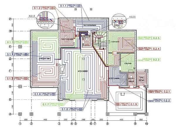 Схема дома с теплыми полами и расчетом теплопотерь