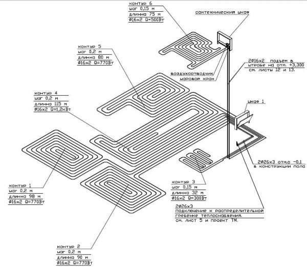 Схема с расчетом размера и количества труб для водяного теплого пола