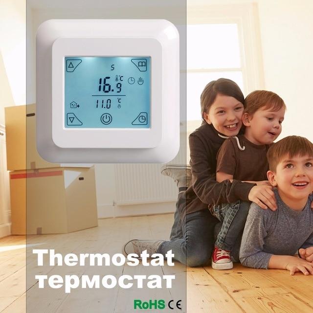 Сенсорный экран термостат Электрический термостат комнатный термостат теплые полы программируемый термостат 16A V8.716