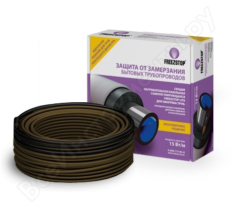 Греющий кабель саморегулирующийся для обогрева труб Теплолюкс Freezstop Lite-15-5